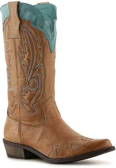 Women's Cimmaron Cowboy Boot -Tan/Turquoise Love me some cowboy boots.  #afflink
