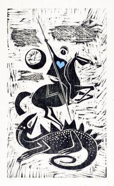 Carybé representou São Jorge com um coração azul de Oxóssi (Imagem: Reprodução/ Facebook Instituto Carybé) Ems Tattoos, Lino Art, Saint George And The Dragon, Dream Pictures, Fairytale Art, Arte Popular, Naive Art, Texture Art, Monster