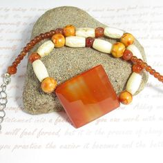 Carnelian, Bone, Sterling Silver Chain, Wood Choker One of a Kind Necklace, 17.5 inch long necklace jewelry gift for woman