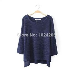 Drop Shipping New Fashion Pattern The solid color Sweaters batwing-sleeve o-neck Knitted Pullovers Casual Knitwear knited women $25.06