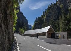 This gabled concrete visitor centre by local architects Iseppi/Kurath is perched on the edge of a 60-metre gorge in the Swiss Alps.