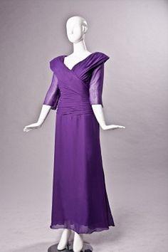 Purple Chiffon V-Neck Mother Of Bride Dress - Order Link: http://www.theweddingdresses.com/purple-chiffon-v-neck-mother-of-bride-dress-twdn1171.html - Embellishments: Ruched; Length: Sweep/Brush Train; Fabric: Chiffon; Waist: Natural - Price: 130.35USD