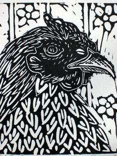 this print really looks like my lino that i created, the way this artist has made the feathers of the chicken is the way i made my petals of my flowers.