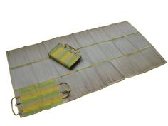 """Amazon.com - 36""""X72"""" Large Portable 3 folds straw beach mat with 100% cotton canvas Multi Stripe outer bag with 2 straps for handle -"""