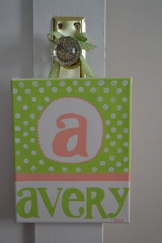 Nursery Initial Name Painting Canvas Polka by BellaBambiniDecor