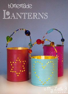 These tin can lanterns are quick and easy and they make gorgeous homemade gifts. TIN CAN LANTERNS are beautiful homemade gifts kids can make. These DIY luminaries are easy to make and look stunning. Kids Crafts, Tin Can Crafts, Easy Crafts, Rock Crafts, Crafts With Tin Cans, Kids Garden Crafts, Recycled Crafts For Kids, Recycling Projects For Kids, Recycled Gifts