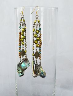 Mother of Pearl Abalone and Green, Gold, Teal Fresh Water Pearl Chandelier Earrings with 14k Gold Plated Earhooks - Boho Chic! by adrienneadelle, $75.00