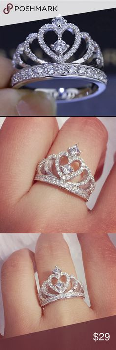 Princess Crown 925 sterling silver Ring 100% real 925 Sterling silver ring/100% brand new/high quality/Swarovski Elements diamond /super bright like real diamond ring/100%lead and nickel free .will not tarnish or fade/available size:6/7/8/9 Jewelry Rings