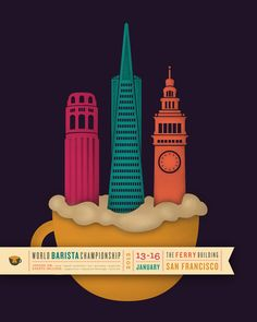 San Francisco graphic designer Theresa Decker created the 2011 World Barista Championships promotional campaign. The event is taking place in San Francisco, California which was the main visual inspiration for Theresa. She chose to illustrate the Coit Tower, TransAmerica Building and the Ferry Building, that are featured on most of the promotional material.