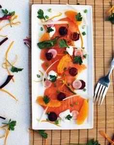 Smoked Salmon Carpaccio | Orange | Garden Beets ... beautiful presentation.