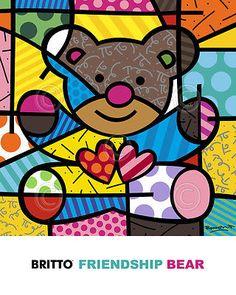 Impressão de arte pop-Amizade Urso Por Romero Britto Coração Teddy Criança Poster 20x16