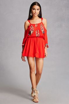A crinkled woven dress featuring floral embroidery, an open shoulder design, ruffle trim straps, 3/4 sleeves with elasticized cuffs, a square neckline with tasseled self-ties, racerback, smocked waist, and a flowy silhouette.<p>- This is an independent brand and not a Forever 21 branded item.</p>