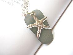Sea Glass Starfish Necklace in Rare Grey by SeaglassGallery, $21.95