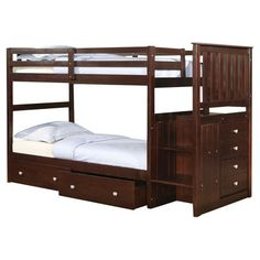 Donco Kids Twin Standard Bunk Bed with Underbed Drawer and Stairway & Reviews | Wayfair