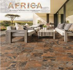 Spruce up your patio with the stunning Out Of Africa Collection. Inspired by Africa, loved by you. This warm stone-look tile brings rich warmth to your outdoor spaces, well matched to chunky rustic wood furniture. Shown here is the Moringa Rust tile. #outofafrica #africanstyle #homedecor #patio #outdoor #tiles #stonelook Outdoor Furniture Sets, Furniture, Outdoor Decor, Outdoor Spaces, Outdoor Furniture, Rustic Wood, Inspiration, Rustic Wood Furniture, Stone Look Tile