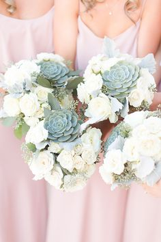 white and succulent bridesmaid bouquets