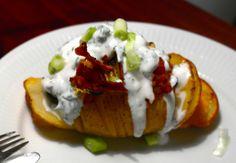Hasselback Potatoes with Greek Yoghurt Dressing