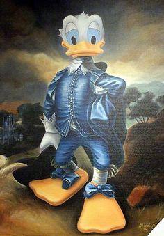 Donald Duck as Gainsborough's Blue Boy