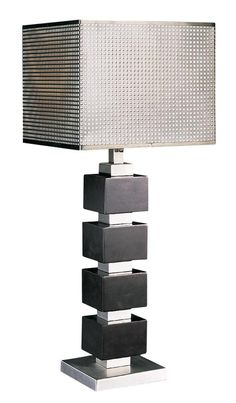 Chrome Screen Cappuccino Wood Cube Table Lamp | LampsPlus.com