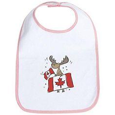 CafePress Canada Day Moose Bib - Standard Petal Pink