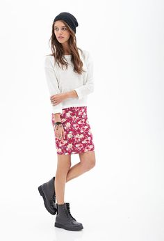 Clustered Rose Pencil Skirt | FOREVER21 - floral skirt, sweatshirt, boots, beanie
