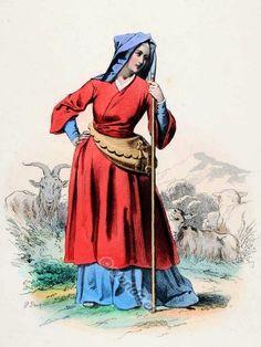 Français médiéval gothique vêtements de femme.  15 mode de siècle.  costume Shepherdess