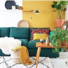 Cozy Home Interior .Cozy Home Interior Yellow Walls Living Room, Colourful Living Room, Living Room Red, Living Room Decor, Ethnic Living Room, Yellow Couch, Dark Blue Couch, Deco Ethnic Chic, Ethnic Home Decor