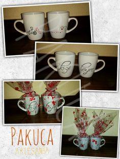 Tazas para Parejas Pintadas a Mano. Regalo muy Personal, Original y Artesanal. Regalos de Boda.