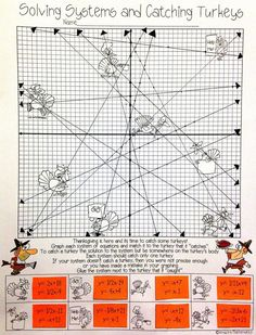 Solving Systems by Graphing - Thanksgiving Activity Catching Turkeys and graphing systems of equations sounds like fun! My Grade Math & Algebra students would love this Thanksgiving activity! 8th Grade Math Worksheets, Graphing Worksheets, Printable Worksheets, Math Teacher, Math Classroom, Teaching Math, Math Resources, Math Activities, Maths Algebra