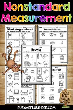 Nonstandard Weight Measurement Worksheets for Kids, Nonstandard Measurement, Measurement Kindergarten, Measurement Worksheets, Kindergarten Lesson Plans, Kindergarten Worksheets, Worksheets For Kids, Printable Worksheets, 2nd Grade Math, First Grade