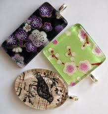 Glass tile, mod podge, jewelry finding
