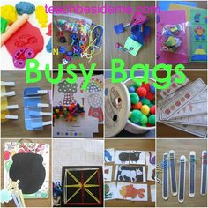 DIY Busy Bags - activities to entertain a toddler and grow their counting, color sorting and other educational skills- cute idea Toddler Busy Bags, Toddler Fun, Kids Bags, Toddler Preschool, Preschool Activities, Toddler Games, Preschool Kindergarten, Creative Activities, Preschool Learning