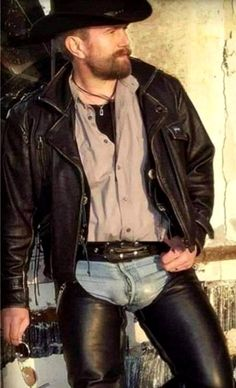 Biker Leather, Leather Men, Hairy Men, Bearded Men, Men In Tight Pants, Sexy Military Men, Cowboys Men, Cowboy Outfits, Cowboy Up