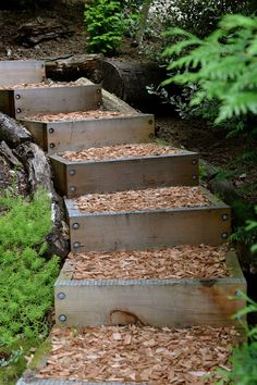 29 Ideas for outdoor stairs ideas sloped backyard Sloped Backyard, Sloped Garden, Backyard Patio, Backyard Ideas, Landscape Stairs, Landscape Design, Garden Design, Landscape On A Slope, Path Design