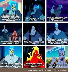 Hades is my third favorite Disney villian. It goes Scar, Ursala, then Hades. Disney Jokes, Funny Disney Memes, Disney Facts, Disney Cartoons, Disney Villains Funny, Disney Funny Tumblr, Disney Villian, Hades Hercules, Disney Hercules
