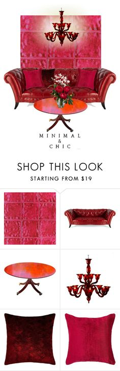"""Red & Pink Minimal Chic"" by leanne-mcclean ❤ liked on Polyvore featuring interior, interiors, interior design, home, home decor, interior decorating, Designers Guild, Old Hickory Tannery, Voltolina and Nearly Natural"