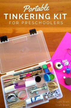 Make your preschooler a portable tinkering kit full of loose parts perfect for inventing. Builds STEM skills in preschoolers. It makes a great Christmas or birthday gift for aspiring engineers, too.