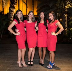 The Womens National Tennis Team (L-R: Laura Robson, Johanna Konta, Anne Keothavong, Heather Watson) wear our Corvina dress in lipstick red to a Fed Cup dinner in Israel