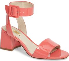 Louise Et Cie Kaden Sandal in Pink. A slightly flared block heel punctuates  this ankle