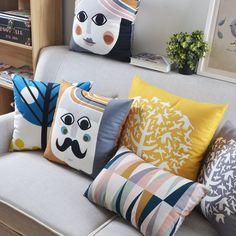 Free shipping  plush Scandinavian style Seat Cushion modern minimalist Cushions For Sofas stylish Geometric Throw Pillows