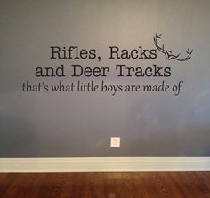 Rifles Racks Deer Tracks Vinyl Lettering Decal by OZAVinylGraphics for Danielle when the time comes <3