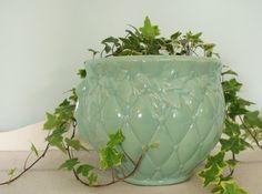 Vintage Aqua McCoy Pottery Jardiniere Planter