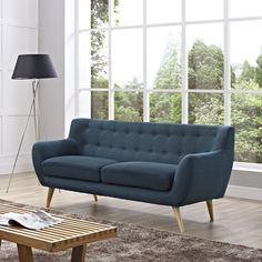 Mid-Century Plush Dual Cushion Sofa