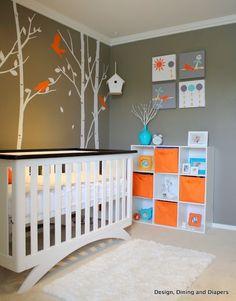 Baby room- Gray blue and orange