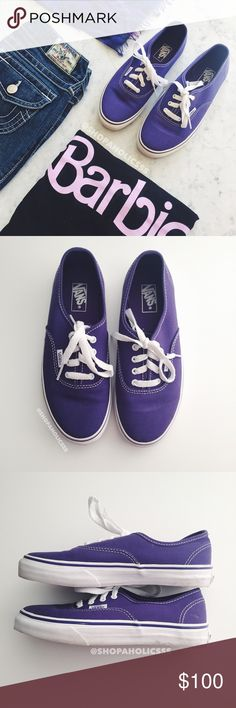VANS The Authentic Skate Shoe vans the authentic  vans original and now iconic style, is a simple low top, lace-up with durable canvas upper, metal eyelets, vans flag label and vans original waffle outsole   ⠀† size: us youth 3.0 (in my opinion fits ⠀women's 5) ⠀† color: purple ⠀† preowned; excellent condition  disclaimer: ⠀✗ i do not trade ⠀✗ no lowballing ⠀✓  i'm open to reasonable offers ⠀✓  more savings when you bundle Vans Shoes