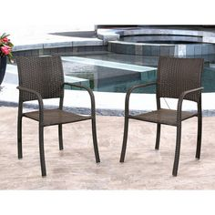 Outdoor Abbyson Living Leeanne PE Wicker Stackable Patio Club Chairs - Set of 2 - DL-RC033-ES-2PCK