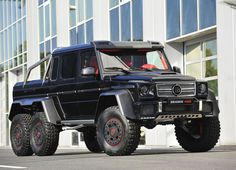 Brabus B63s – 700 The Brabus tuned 6 x 6 G-Wagen is pretty much a luxury tank designed for desert duties and driving through buildings. It affords 700hp from the 5.5 litre V8 and does the 0-100km/h sprint in 7.4 seconds – insane for a car that weighs four tonnes. There's also a Brabus front spoiler, carbon fibre bonnet scoop, dark-tinted LED lights, and a cabin decked in red leather, TV screens in the rear headrests, stainless-steel scuff plates and aluminium finishings.