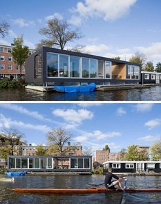11 Awesome Examples Of Modern House Boats // Large floor to ceiling windows and a large open area provide this house boat with lots of natural light and uninterrupted views of the river outside. Luz Natural, Natural Light, Maison Sur Leau, Floating Architecture, Lakefront Property, Water House, Floating House, Floor To Ceiling Windows, Rustic Design