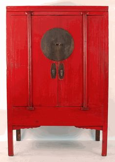 Antique Asian Furniture: Antique Chinese Red Lacquered Wedding Cabinet from Ningbo, China