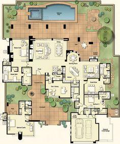 tucson custom home hacienda floor plan, architecture, Hacienda Floor Plan 4 100 square feet